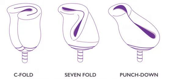 Different Menstrual cup folding Techniques